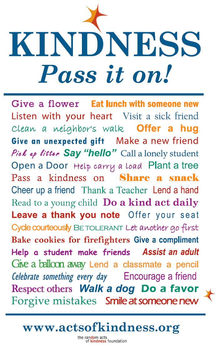 act of kidness Random acts of kindness -- 103 easy ways you can carry out kindness daily how  great that these random acts of kindness can make someone's entire day.